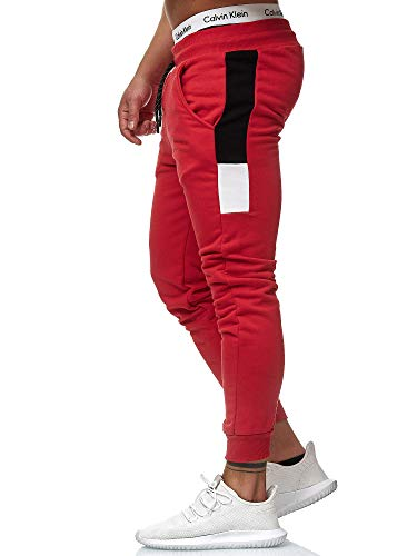 OneRedox Herren Jogging Hose Jogger Streetwear Sporthose Modell 1268 Rot XS