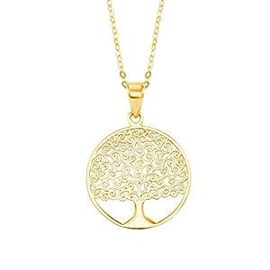 amor Halskette mit Lebensbaum-Anhänger aus Gold 375