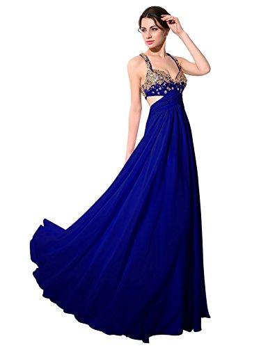 Sarahbridal Damen A-Linie Kleid Blau - Königsblau
