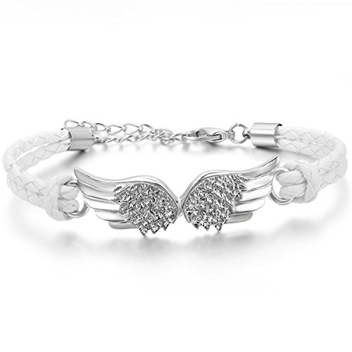 JewelryWe Schmuck Herren Damen Armband, EIN Paar Engel Flügeln Charm Verstellbaren Größen Armreif, Leder Legierung, weiß Silber