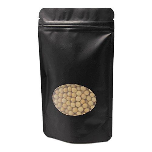 13x21cm 300 Stück KüchengerätKaffee Kaffeebohne Nuss Verpacken Taschen Rein Alufolie Kunststoff Taschen Mit Rund Fenster Klar Schwarz Farbe Ziplock Reißverschluss Tüten Mylar Verpacken Beutel