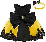 IBTOM CASTLE Vestito da bambina da principessa, con fiori, senza maniche, con fiocco e tutù, per battesimo e f
