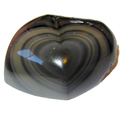 Satin-Kristalle Obsidian Regenbogenherz Sammlerstück Heilkraft der Liebe Stein poliert & roh Lavastein C55 (7,3 cm Sweetheart)