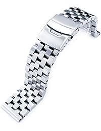 Super Engineer Type II Bracelet de montre en acier inoxydable massif Extrémité droite avec bouton poussoir 21mm