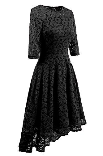 Adodress Damen Vintage Cocktailkleid Retro Spitzen Schwingen Pinup  Rockabilly Kleid Schwarz 1