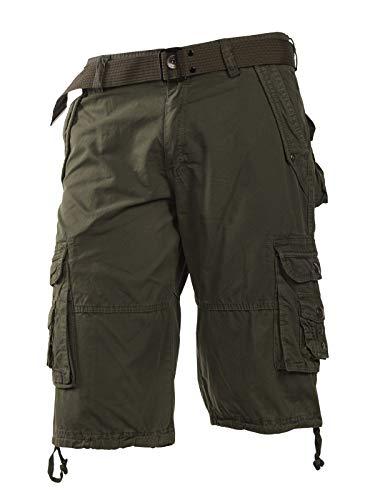 Trisens Cargo Shorts Kurze Hose Herren Short Bermuda mit GÜRTEL Baumwolle, Farbe:Dunkelgrau, Größe:W36 /XL - Herren Kleid Hose