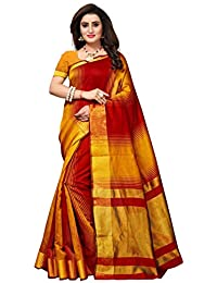 Fabwomen Women's Cotton Silk Kanjeevaram Fashion Saree With Blouse Piece, Free Size (Red And Yellow)