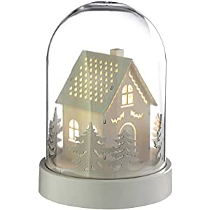 WeRChristmas Pre-Lit House Bell Jar Warm LED Christmas Decoration, Wood, 18.5 cm - White