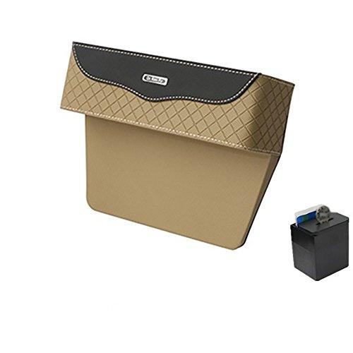 Multi-Funktions-Auto-Sitz-Leder-Aufbewahrungsbox, Console Side Pocket, Gap Catcher Mit Münz-Organizer Fahrerseite,Beigeandblack