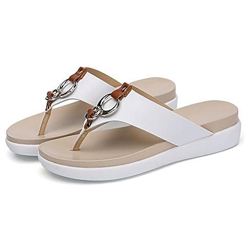 Common Women's Leather Flat Flip Flops Summer Beach Sandals Shoes(White-UK 3.5)