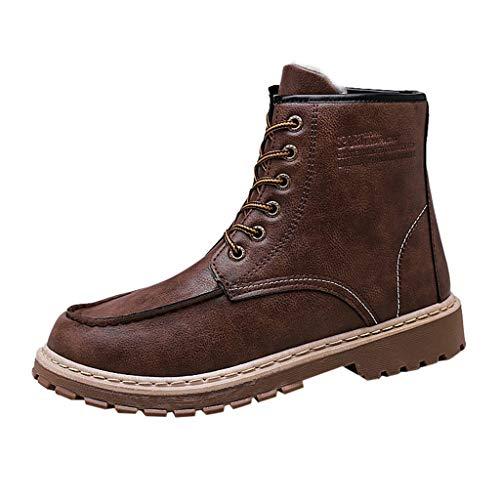 DAY8 Winterstiefel Herren Winterschuhe Wasserdicht Schneestiefel Snow Boots Outdoor Stiefel Baumwolle Schuhe Braun 39 EU