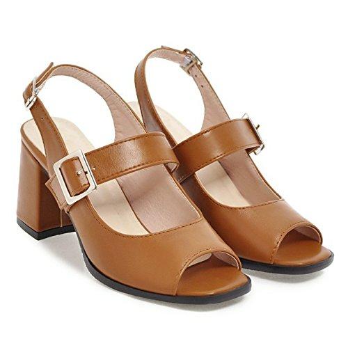 Damen Damen Sandalen Slingback Ankle Strap Blockabsatz Peep Toe Braut Dressy Mary Jane Schuhe Für Mädchen,Brown-EU35=225 (Sandalen Dressy Mädchen)