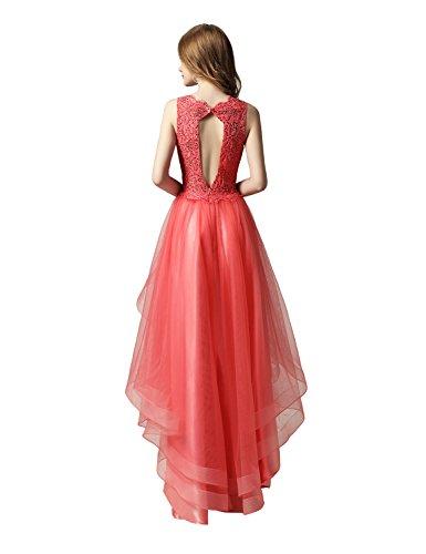Sarahbridal Damen Tüll Bandeau Abendkleider Asymmetrisch Ballkleid Kurz Cocktailkleid Abschlusskleider SAJ014 Rot-230