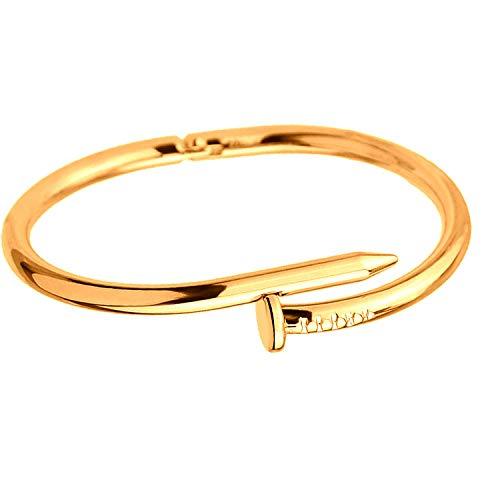 AiLove Charme Bracelet für Damen und Herren,Armband Schmuck Boutique,Schöne Schmucksache Armreif Personality Nail Opening Couple Jewelry Boutique Gold Silber Roségold
