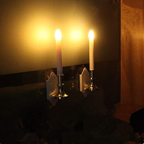 cuzile Solarbetriebene flammenlose LED Kerzen flackernde beweglicher Flamme Kerzenwandleuchten Kerzen Taper mit Saugnapf Ideal für Weihnachten Hochzeiten Schlafzimmer Fenster 2er Set Geburtstags
