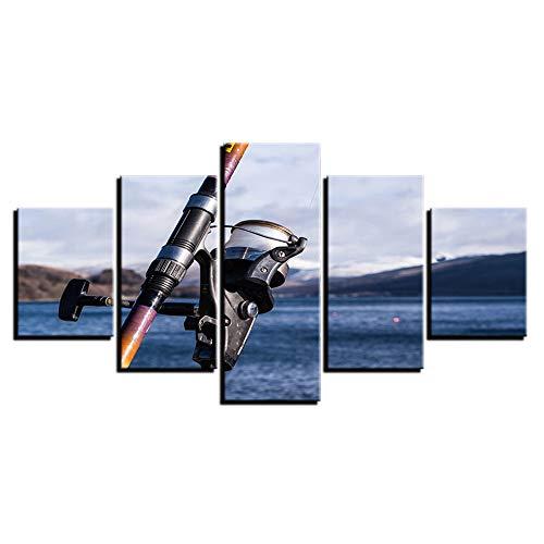 MURAEDLS Bilder Leinwandbilder Bild auf Leinwand 5 TLG Vlies Wandbild Kunstdruck Wanddeko Wand Wohnzimmer Wanddekoration Deko Angelfreunde Angelrute 150x80cm-Kein Rahmen