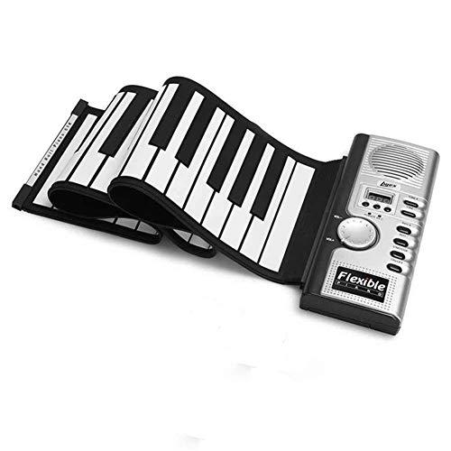Sjqzba - Piano de mano con 61 teclas y teclado MIDI recargable portátil para niños, principiantes