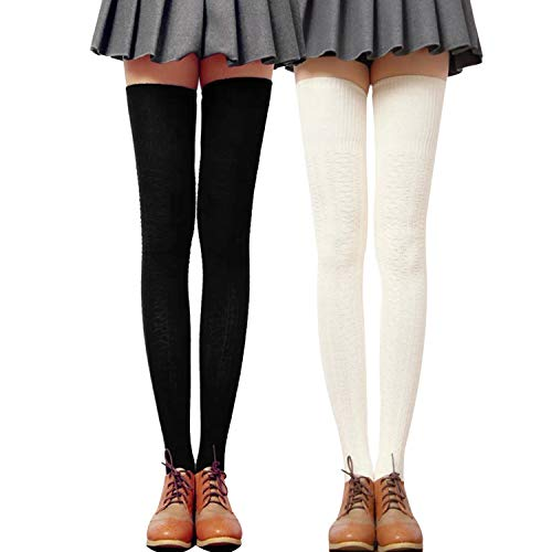 WhiFan Hohe Socke Stiefel Overknee Strümpfe Überknie Kniestrümpfe Mädchen Baumwolle Hold-up-Strümpfe Retro Knitting Sportsocken Schwarz -