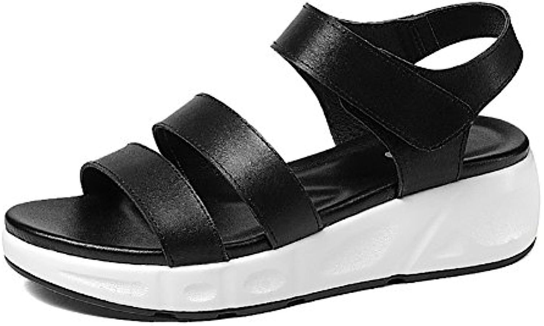 Sandalias ZCJB Romanas De Verano Zapatos De Mujer De Tacón Plano De Cuero Zapatos De Plataforma De Suela Gruesa...
