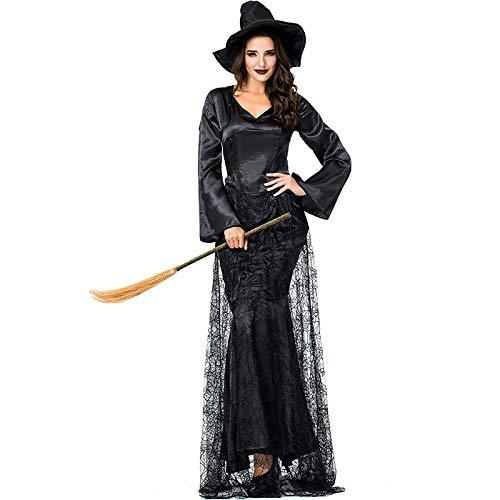 FHSIANN Erwachsene Frauen Halloween Gothic Devil Scary Hexe Kostüm Dark Black Spider Cobweb Robe