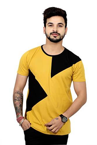 THE EG STORE Men's Cotton Round Neck Half Sleeve T Shirt (Large, Yellow)