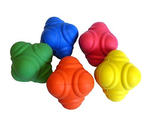 STOP! Fitness - Set mit 5 SAQ und Reaktionsbällen für die Entwicklung von Schnellkraft und Reaktionsschnelligkeit - Durchmesser 7 cm - Inklusive Anleitung mit Übungsbeispielen