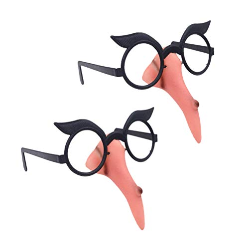 Amosfun 2pcs Lange Nase Hexe lustige Sonnenbrille Party Sonnenbrille Neuheit Brillen Party Favors Supplies