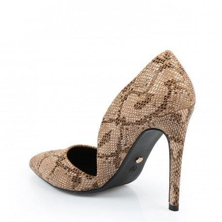 Ideal Shoes - Escarpins à bout pointu imprimés Daino Taupe