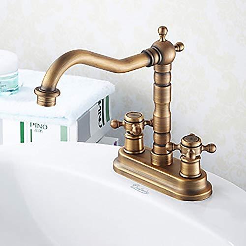 Dapai Antik Messing Zwei Löcher/Zwei Griffe Zwei Loch Bad Wasserhahn Vintage Waschbecken Wasserhahn H006 (Moen Bad Wasserhahn Griff)