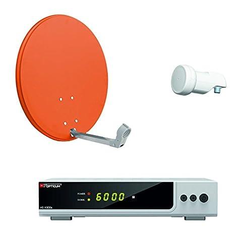 Opticum HD AX 300 Digitale 1 Teilnehmer Satelliten-Komplettanlage mit HDTV-Receiver (Single-LNB, 60 cm Antenne) ziegelrot (TÜV zertifiziert)