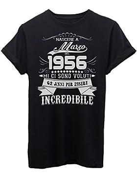 iMage Shirt Compleanno Nato A Marzo del 1956-62 Anni per Essere Incredibile - Eventi - Maglietta