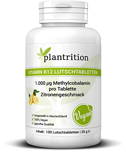 Vitamin B12 Vegan Lutschtabletten 1000 µg Methylcobalamin hochdosiert mit Zitronengeschmack - Qualitätsprodukt hergestellt in Deutschland - Plantrition 1er Pack (1 x 100 Stück)