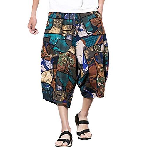"Adelina Herren Jugendliche Atmungsaktiv Cool Leinen Pants Fancy Casual Jungen Hippie Harem Pants Low Crotch Hose Vintage Mode Bedruckte Pluderhose Sommerhose (Color : Dk704, Size : Waist 29&quot-35"")"