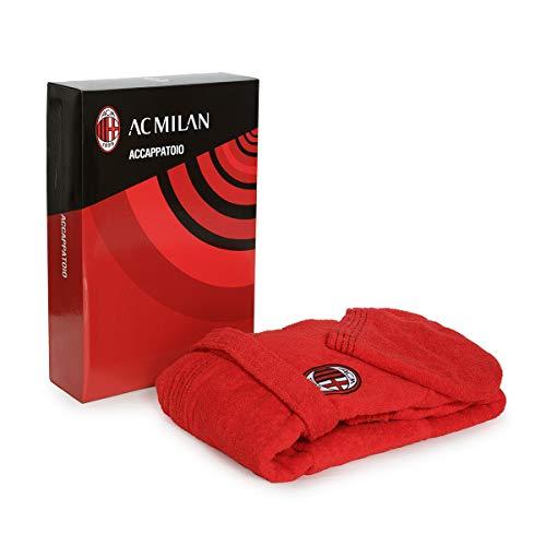 Accappatoio con cappuccio ufficiale ac milan tg s m l xl xxl rosso nero 100% spugna puro cotone uomo in scatola (xl - 52/54)