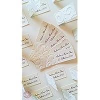 Kit 10 bigliettini bomboniere con decorazione in rilievo onde per nascita, Battesimo, Prima Comunione, Cresima, laurea, matrimonio, anniversario, compleanno