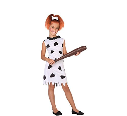 ATOSA 56839 Höhlenmensch Kostüm für Mädchen Costume Caveman/Cavewoman 7-9, Schwarz/Weiss, 7 a 9 ()