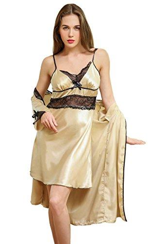 SAMGU Frauen Unterwäsche Nachthemd Robe Schlaf Kleid Set Gold (Baby-schlaf-kleider)