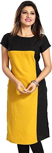 Purple Fashion Women's Crepe Yellow Kurta (1234_Medium)
