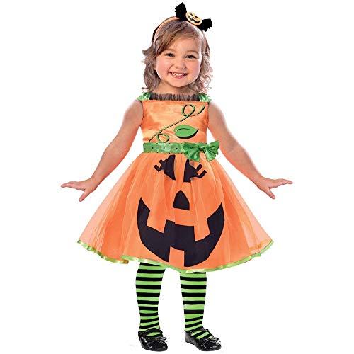 Generique - Lustiges Kürbis-Kostüm für Kinder Halloween orange-schwarz-grün 98/104 (3-4 Jahre)