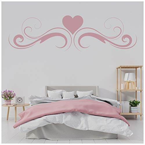 azutura Wirbel-Herz Wandtattoo Kopfteil Wand Sticker Mädchen Schlafzimmer Wohnkultur verfügbar in 5 Größen und 25 Farben X-Groß Elfenbein Beige -