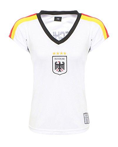 Antonio by Cleostyle Damen Deutschland Fußballtrikot Fanshirt WM 2018 Nationalmannschaft T-Shirt Weiß CL 52-1 (S)