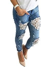 Anaisy Pantalones De Mezclilla Pantalones De Slim Empalmados Encaje Torn Fit Stretch Button con Joven…