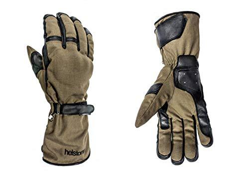 HELSTONS Challenger - Guanti da moto invernali in tessuto pelle Kaki-nero, taglia T8