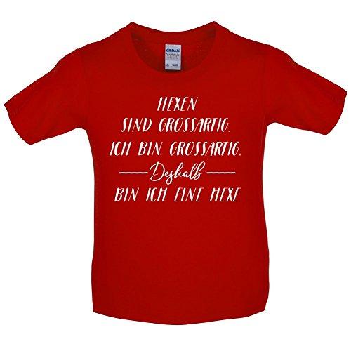 Hexe - Kinder T-Shirt - Rot - S (5-6 Jahre) (Kleinkind Gremlin Kostüm)