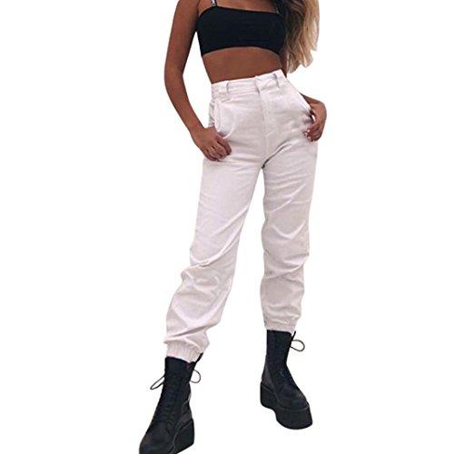 ADESHOP Femmes Baggy Hip Hop Danse Jogging Pantalon De SurvêTement Pantalons Pantalons De Sport De Mode Et De Loisirs Sarouel Pantalons Jambe Large Pantalons D'Outillage (S, Blanc)