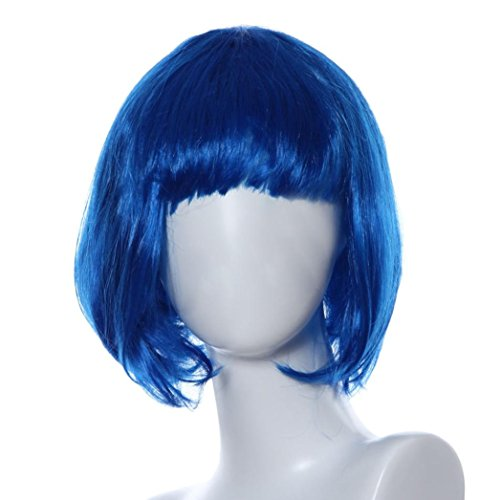 Tianya Damen Kurz Gerade Haar Perücke Cosplay Party Perücken vorne Ordentlich Pony Bob Perücke, blau, Length:About29cm/11.4