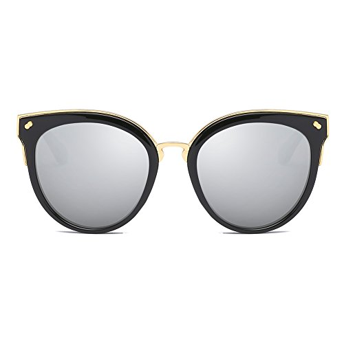 Cyxus Katzenauge Metall Rand Rahmen Damen Frau Mode Sonnebrille Gespiegelte Linse Women Sunglasses 1946 (Schwarzer Rahmen/Silberne Linse)