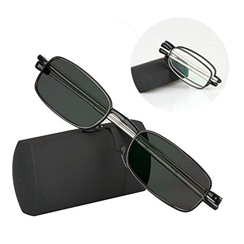 Übergang photochrome Falt Lesebrille Mini Pocket Reader mit Case weitsichtige faltbare UV400 Sonnenbrille + 1,0 bis + 3,0 (+1.25)