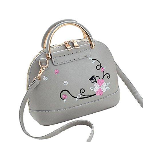 Damenbekleidung Stickerei Umhängetasche Messenger Bag Wildpaket Handtasche Shell Paket Einfache Mode Grey
