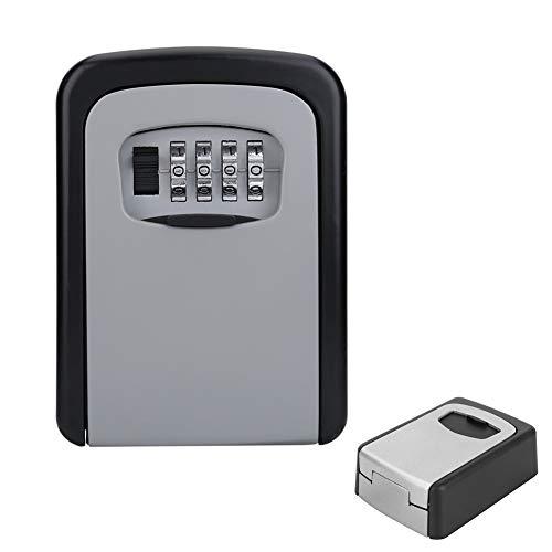tändige Outdoor-Wandhalterung Safe Lock Lock Box mit 4-stelliger Kombination, rücksetzbarer Code-Organizer-Schlüsselhalter für Home Office (Silber) ()